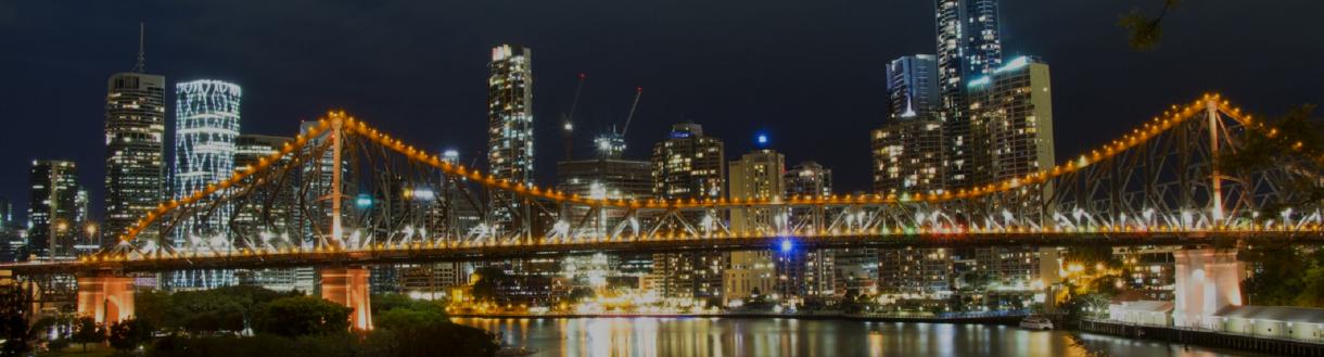 Brisbane city night skyline storey bridge